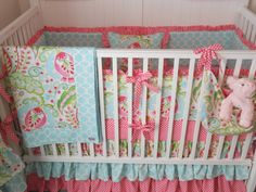 Pink and Aqua All About the Ruffles Crib by butterbeansboutique, Etsy