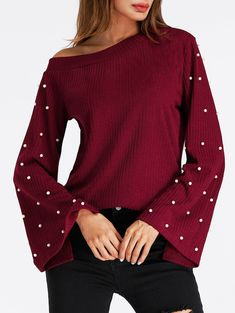 Beaded Bell Sleeve Skew Neck Ribbed Sweater