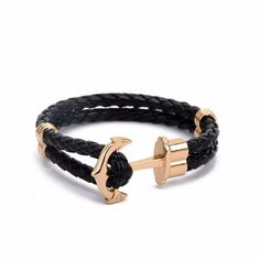 'Lost at Sea' Anchor Leather Wrap Bracelet