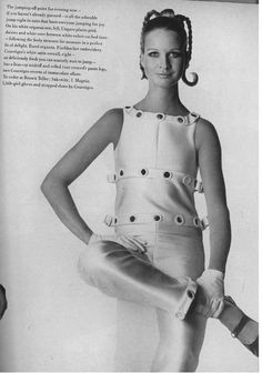 Andre Courreges shoes, gloves and satin overall November 1966 British VOGUE