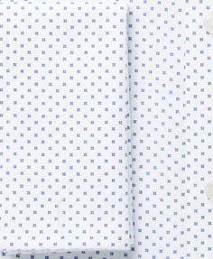 Tasso Elba Men's Classic/Regular Fit Non-Iron White Blue Diamond Print French Cuff Dress Shirt, Created for Macy's - 17 34/35