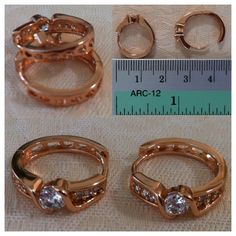 9K Rose Gold-filled (ring-like) hoop earrings with CZ 'bling' - AUD$12.00 + postage or local pick up available (2 in stock)