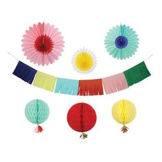 Multicoloured Paper Party Decorating Kit