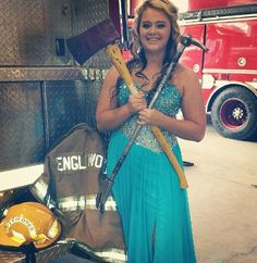 My oldest daughters junior prom. Female firefighter