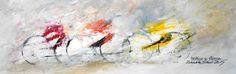 """""""TRITTICO SU STRADA""""  opera di Roberto Sironi - acrilico su tela - 20 x 60"""