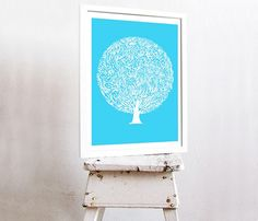 Blue Tree Print its done with great design and detail and the background color fits perfectly with the white design