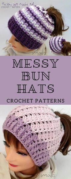 Perfectly purple intricate patterned messy bun hat crochet patterns. looks like the top can also be drawn closed for a non bun/pontail hat. #etsyaff