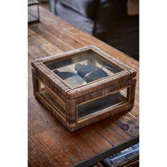 Rustic Rattan French Glass Box S