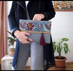 Gri Gül İşlemeli Çanta Zet.com'da 130 TL
