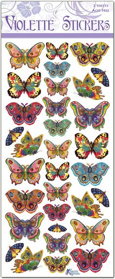 1 sheet of vintage-style die-cut stickers featuring a mix of colorful butterflies. Overall sheet measures by tall. Printed in the USA. Butterfly Crafts, Butterfly Art, Butterfly Colors, Butterfly Pictures, Art Plastique, Beautiful Butterflies, Art Projects, Mandala, Artsy