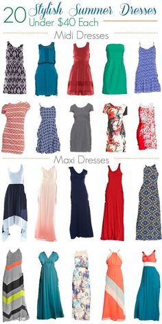 20 Stylish Summer Dresses all priced under $40 including maxi and midi dresses.