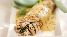 Rezept: Pfannkuchen mit Spinat und Hähnchen