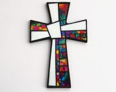 Mosaic Wall Cross, Large, Black with White + Hand Painted Abstract Rainbow Glass, Handmade Stained Glass Mosaic Cross Wall Decor, x by Dana Hess ~ The Green Banana Mosaic Company Stained Glass Projects, Stained Glass Patterns, Mosaic Patterns, Mosaic Crosses, Wall Crosses, Mosaic Tile Art, Mosaic Glass, Mosaic Artwork, Fused Glass Art