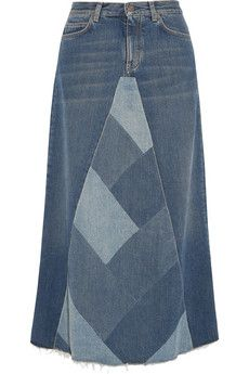 Saint Laurent Patchwork denim midi skirt | THE OUTNET