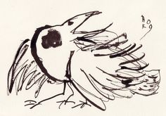 Big eye bird - original Japanese ink painting. Description from pinterest.com. I searched for this on bing.com/images