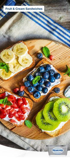 """Searching for a tasty, yet quick, snack idea? Try these colourful Open-Face Fruit and Cream Cheese """"Sandwiches. Cream Cheese Sandwiches, Sandwich Cream, Fruit Sandwich, Sandwich Fillings, Cake Filling Recipes, Best Fruits, Cafe Food, Fabulous Foods, Yummy Food"""