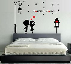 WALL STICKERS ADESIVI MURALI Forever Love INNAMORATI LOVE AMORE DESIGN Cuore!