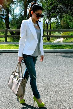 Pop of color w/lime green pumps