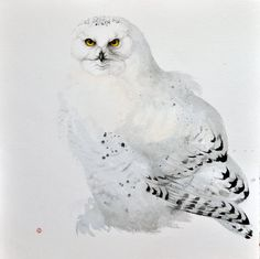 Snowy Owl, by Karl Martens, American born painter (b.1956). Watercolor