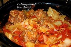 Cabbage and Meatballs  2 lbs. Ground beef... 1 med. onion diced 1/2 tsp. garlic powder salt to taste pepper to taste 1/2 c. instant rice 1 can Campbell's tomato soup 1 lg. head of cabbage