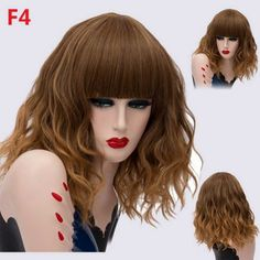 cheap ombre brown halloween wigs fluffy curly with bangs shoulder-length Cheap Lace Front Wigs, Cheap Wigs, How To Wear A Wig, Short Curly Wigs, Ombre Brown, Halloween Wigs, Wigs For Sale, Wigs Online, Blonde Wig
