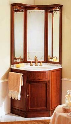 small bathroom vanity corner - Small Bathroom Vanities for Effective Design of Space Management Corner Bathroom Vanity, Diy Vanity Mirror, Bathroom Vanity Designs, Small Bathroom Vanities, Tiny Bathrooms, Bathroom Design Small, Modern Bathroom, Vanity Ideas, Mirror Ideas