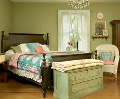 Vintage Charm - green,pink,blue with dark furniture accenting