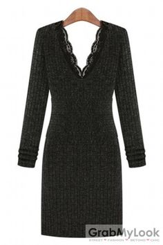 GrabMyLook V Neck Lace Detailed Knitted Long Sleeves Bodycon Dress