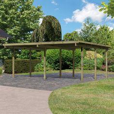 Carport double en pin autoclave avec toit PVC 27,58m2 - Karibu - Maison Facile : www.maison-facile.com