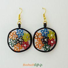 Boucles d'oreilles rondes colorées quilling design originales