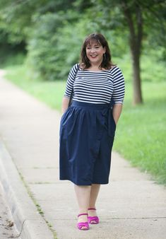 697c0644a6 Wardrobe Oxygen in navy and white stripes with a pop of pink. Cotton wrap  skirt