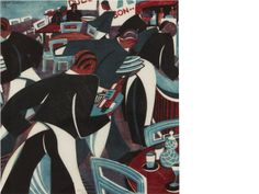 Lill Tschudi (Swiss, 1911-2001). Waiters (Coppel LT 47),  Linocut printed in dark blue, light blue and reddish brown, 1936, a strong and vibrant impression, on thin white oriental laid, signed and numbered 22/50 in pencil, with margins, 278 x 262mm (10 7/8 x 10 1/4in).