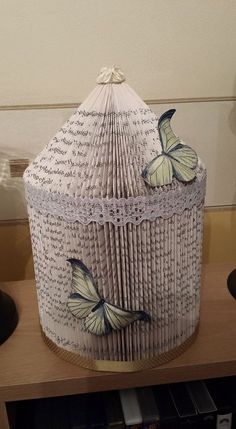 Hand crafted 3D book fold Bird Cage,  Embellished with butterfly's, lace and gold ribbon. £20 plus £4.95 p+p