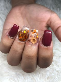 Halloween Acrylic Nails, Fall Acrylic Nails, Acrylic Nail Designs, Simple Elegant Nails, Simple Fall Nails, Love Nails, Pink Nails, My Nails, Stylish Nails