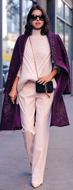 Glittering Wine Boucle Knit Coa by Vivaluxury