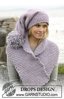 """Sættet består af: Retstrikket DROPS halstørklæde og lang hue med stor pompon i """"Eskimo"""". ~ DROPS Design"""