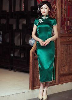 Green Silk Long Cheongsam Women's Chinese Vintage Qipao Evening Dress