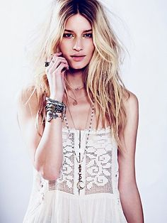 Greenhouse Rose Tank @FreePeople Great necklace layering too!