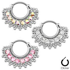 14G-16G Septum Clicker Opal Nose Bull Ring Feather Angel Piercing Hanger Jewelry