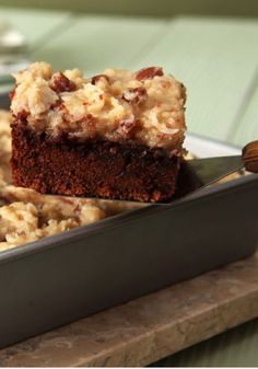 Easy BAKER'S GERMAN'S Sweet Chocolate Cake – You are sure to please your family and friends with this cake recipe at your holiday party. Top with easy coconut-pecan filling and frosting for the ultimate dessert.