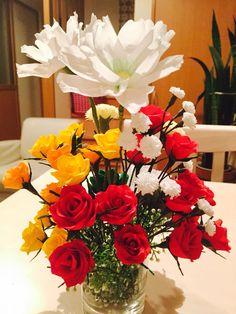 クレープペーパー バラ crepe paper flower