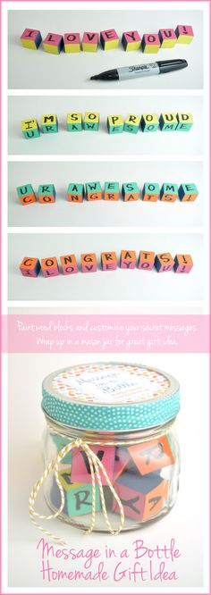 Message in a Jar Graduation Gift Idea - paint wood blocks, draw secret message on each side, and dress up mason jar.
