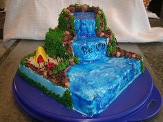 Camping Cakes with Waterfalls | on the backside of the cake it is light blue (sky) and then I drew ...