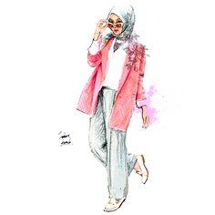 inspire by IndahNadaPuspita Hijab Fashion, Fashion Art, Illustrations Techniques, Hijab Drawing, Illustrations Vintage, Anime Muslim, Hijab Cartoon, Beautiful Muslim Women, Dress Sketches