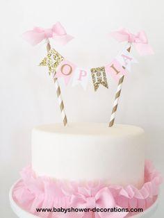 Cake Smash Pink and Gold Cake Topper, Smash Cake Photo Prop, Birthday Cake Bunting Pink Gold Birthday, Gold First Birthday, Happy Birthday, Cake Bunting, Cake Banner, 1st Birthday Cake Topper, Birthday Cake Girls, Receita Red Velvet, Gold Cake Topper