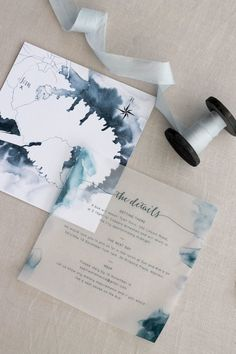 Such a beautiful modern water colour look for these Dusty Blue wedding invitations
