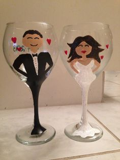 Hand Painted Wine Glass Party wedding birthday champagne toasting ...
