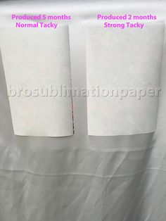Warranty of sticky/tacky sublimation paper is a serious problem. Most of the tacky paper only have 3 months warranty ,look at our tacky paper you will see the difference. www.brosublimationpaper.com