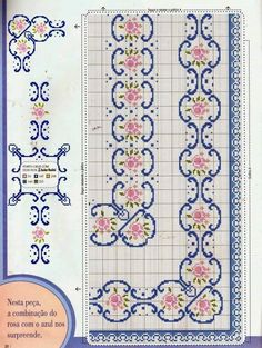 Handicrafts: Plans for embroidered tablecloths / Tablecloth cross stitch patterns Cross Stitch Bookmarks, Cross Stitch Borders, Cross Stitch Rose, Cross Stitch Flowers, Cross Stitch Charts, Cross Stitch Designs, Cross Stitching, Cross Stitch Patterns, Diy Embroidery