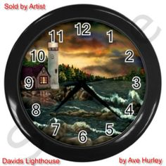 David's Lighthouse Custom Design~ Wall Clock ~ Original ART~ Ave Hurley ArtRave  30% Ebay Charity - Samaritan's Purse